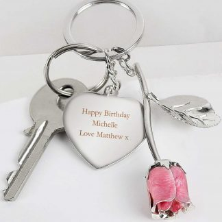Silver Plated Pink Rose Keyring