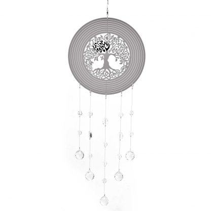 COUNTRY LIVING TREE OF LIFE METAL WIND SPINNER with Crystals
