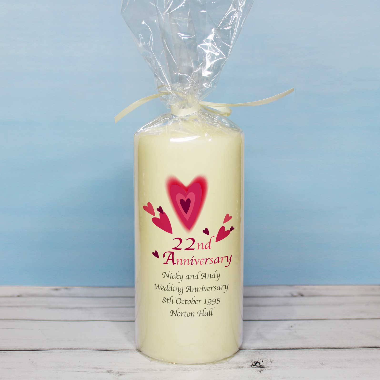 Red Hearts Wedding Anniversary Pillar Candle
