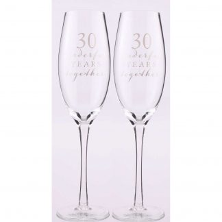 Amore 30th Anniversary Champagne Flutes