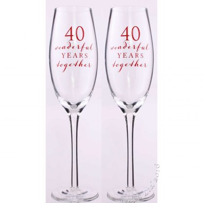 Amore 40th Wedding Anniversary Champagne Flutes Gift Set