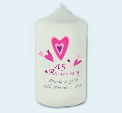 45th Anniversary personalised pillar candle