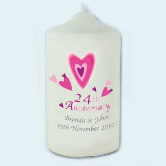 On your 24th Anniversary Personalised Candle