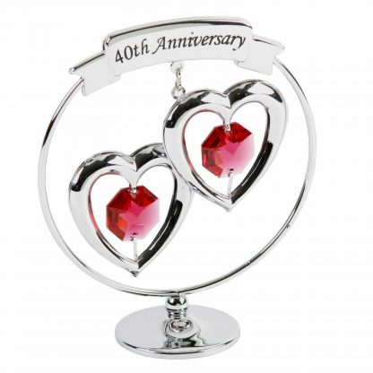 40th Anniversary Gifts Double Heart chrome Ornament by Crystocraft
