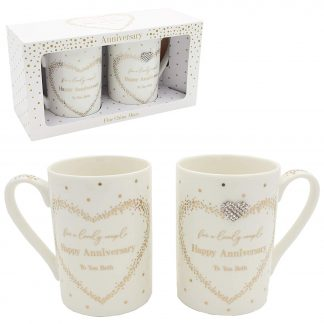 Hearts Designs Mad Dots Gift Set of Two Mugs for a lovely couple Happy Anniversary